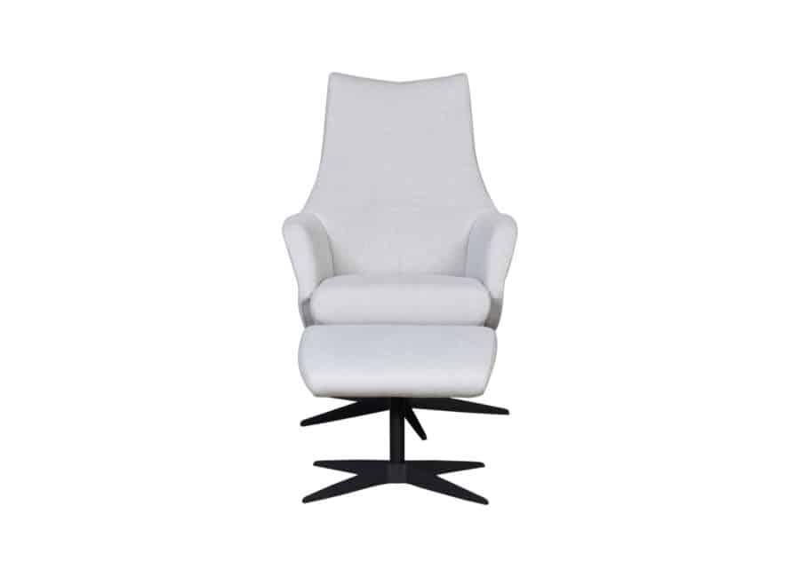 Movani fauteuil Fonko vooraanzicht met poef